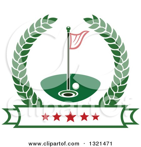 Clipart of a Golf Ball, Flag and Hole in a Wreath over a Star Banner - Royalty Free Vector Illustration by Vector Tradition SM