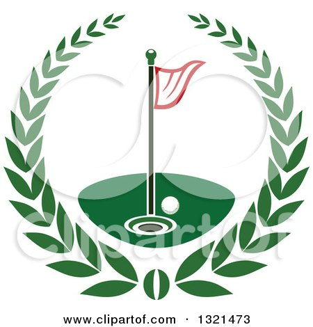 Clipart of a Golf Ball, Flag and Hole in a Wreath - Royalty Free Vector Illustration by Vector Tradition SM