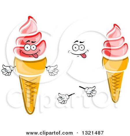 Royalty-Free (RF) Strawberry Waffle Ice Cream Cone ... Cartoon Waffle With Face