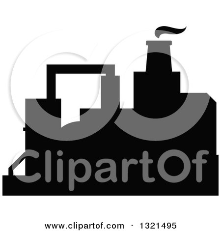 Clipart of a Black Silhouetted Refinery Factory 31 - Royalty Free Vector Illustration by Vector Tradition SM