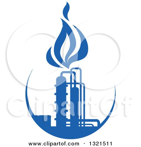 Clipart of a Blue Natural Gas and Flame Design 9 - Royalty ...