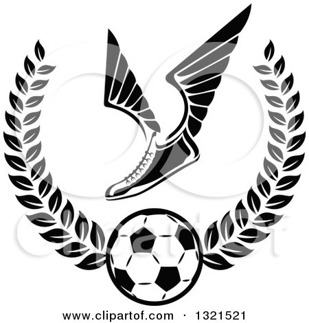 Clipart of a Black and White Winged Soccer Cleat Shoe over a Ball in a Wreath - Royalty Free Vector Illustration by Vector Tradition SM