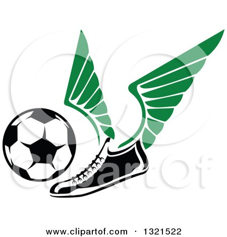 Clipart of a Winged Soccer Cleat Shoe Kicking a Ball - Royalty Free Vector Illustration by Vector Tradition SM