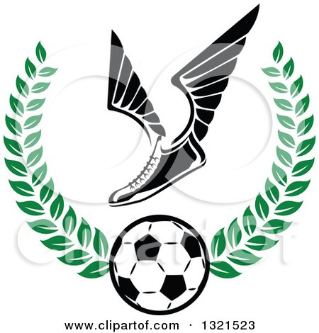 Clipart of a Winged Soccer Cleat Shoe over a Ball in a Green Wreath - Royalty Free Vector Illustration by Vector Tradition SM