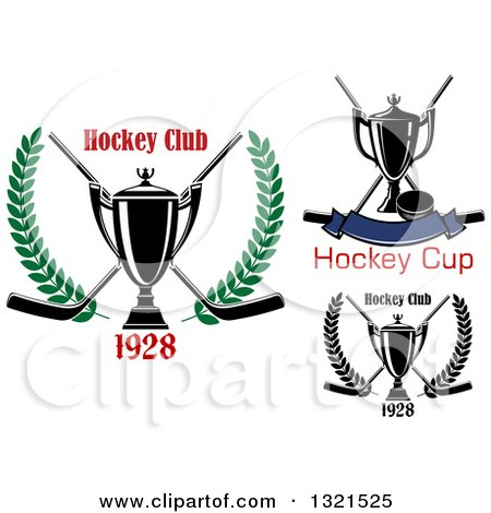Clipart of Hockey Trophies, Pucks and Sticks - Royalty Free Vector Illustration by Vector Tradition SM