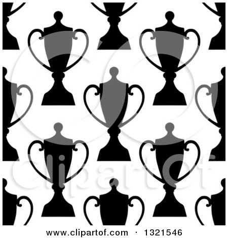 Clipart of a Seamless Background Pattern of Black and White Silhouetted Urns or Trophies 4 - Royalty Free Vector Illustration by Vector Tradition SM
