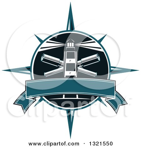 Clipart of a Blue Nautical Lighthouse and Shining Beacon Logo with a Star and Blank Banner - Royalty Free Vector Illustration by Vector Tradition SM