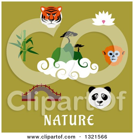 Clipart of Flat Design Asian Animals and Items with Text on Green - Royalty Free Vector Illustration by Vector Tradition SM
