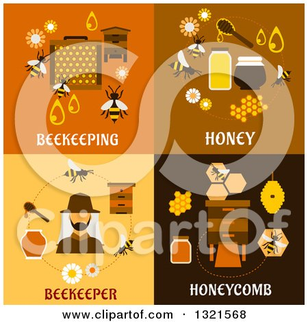 Clipart of Beekeeping and Bee Flat Designs - Royalty Free Vector Illustration by Vector Tradition SM