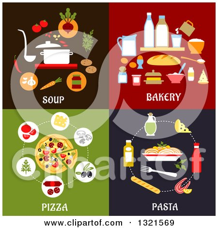 Clipart of Soup, Bakery, Pizza and Pasta Flat Designs - Royalty Free Vector Illustration by Vector Tradition SM