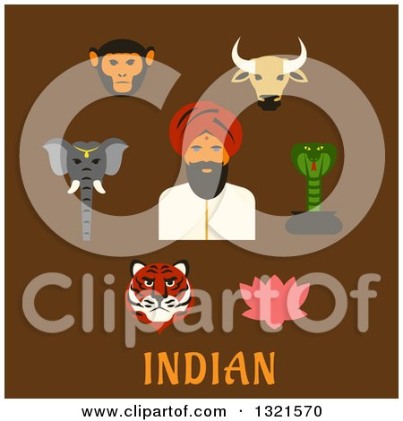 Clipart of a Flat Design Indian Man with Animals and a Lotus Flower over Text on Brown - Royalty Free Vector Illustration by Vector Tradition SM