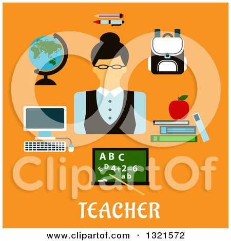 Clipart of a Flat Design of a Female Teacher with Accessories over Text on Orange - Royalty Free Vector Illustration by Vector Tradition SM