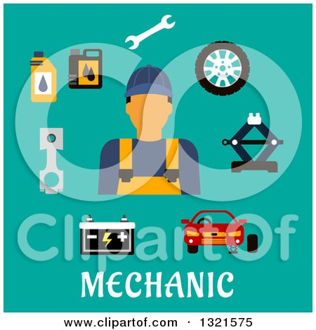 Clipart of a Flat Design of a Male Mechanic with Accessories over Turquoise - Royalty Free Vector Illustration by Vector Tradition SM
