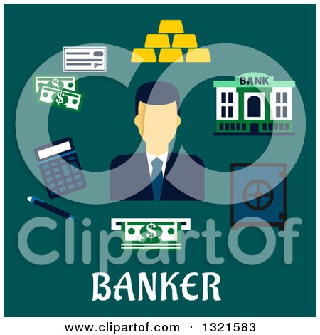 Clipart of a Flat Design of a Male Banker with Accessories over Text on Teal - Royalty Free Vector Illustration by Vector Tradition SM