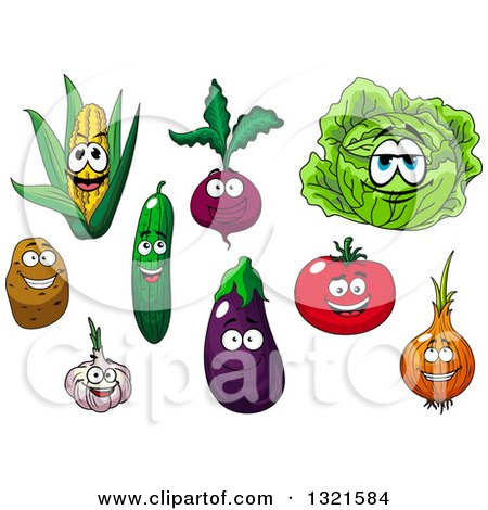 Clipart of Cartoon Corn, Beet, Cabbage, Potato, Cucumber, Egplant, Tomato, Yellow Onion and Garlic Characters - Royalty Free Vector Illustration by Vector Tradition SM