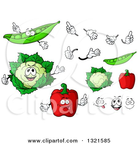 Clipart of Cartoon Pea, Cauliflower and Red Bell Pepper Characters, Faces and Hands - Royalty Free Vector Illustration by Vector Tradition SM