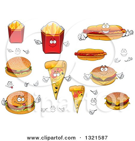 Clipart of Cartoon French Fry, Hot Dog, Pizza and Burger Characters - Royalty Free Vector Illustration by Vector Tradition SM