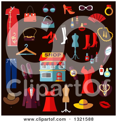 Clipart of Flat Design Clothes and Accessories - Royalty Free Vector Illustration by Vector Tradition SM