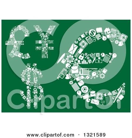 Clipart of Dollar, Euro, Pound and Yen Currency Symbols Made with Tiny White Icons on Green - Royalty Free Vector Illustration by Vector Tradition SM
