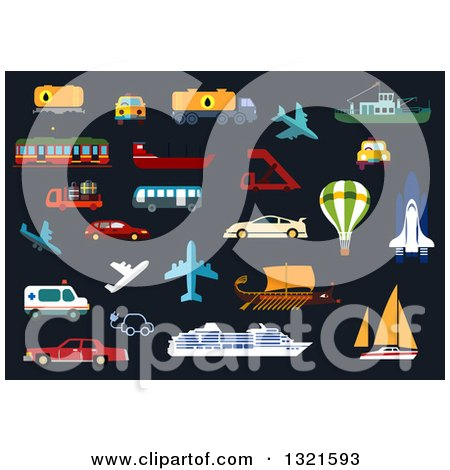 Clipart of Flat Design Vehicles and Other Modes of Transportation - Royalty Free Vector Illustration by Vector Tradition SM