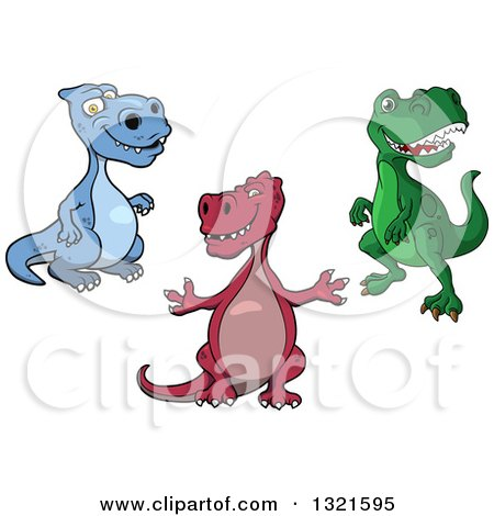 Clipart of Cartoon Blue, Red and Green Tyrannosaurus Rex Dinosaurs - Royalty Free Vector Illustration by Vector Tradition SM