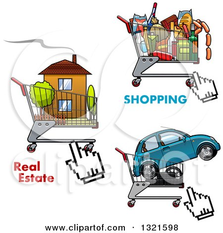 Clipart of Shopping Carts and Cursors with a House, Car and Groceries - Royalty Free Vector Illustration by Vector Tradition SM