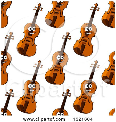 Clipart of a seamless background pattern of happy violins 2 royalty