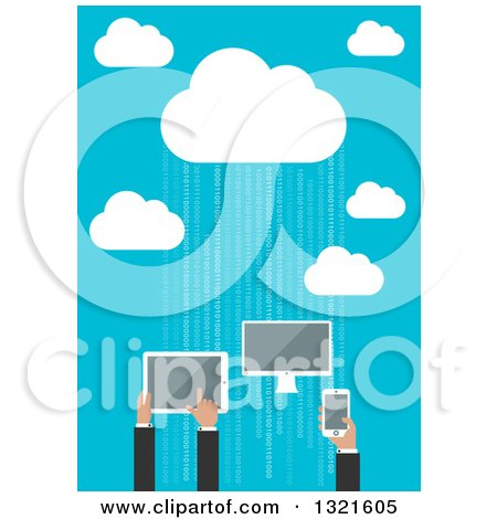 Clipart of a Flat Design Cloud Server with People Using a Computer, Tablet and Smart Phone over Blue with Binary - Royalty Free Vector Illustration by Vector Tradition SM