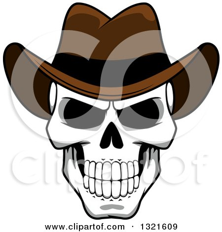 Clipart Of A Cartoon Grinning Human Skull Wearing A Cowboy Hat Royalty Free Vector Illustration