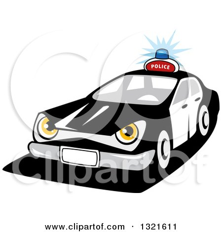 Clipart of a Cartoon Tough Police Car Character - Royalty Free Vector Illustration by Vector Tradition SM