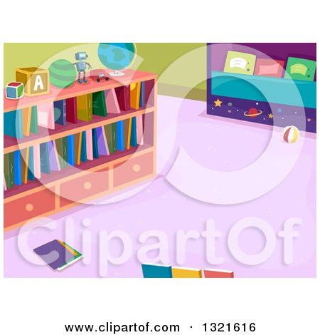 Clipart of a Library Room Interior with Books on Shelves - Royalty Free Vector Illustration by BNP Design Studio