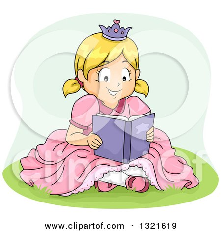 Clipart of a Happy Blond White Girl in a Princess Costume, Sitting in Grass and Reading a Book - Royalty Free Vector Illustration by BNP Design Studio