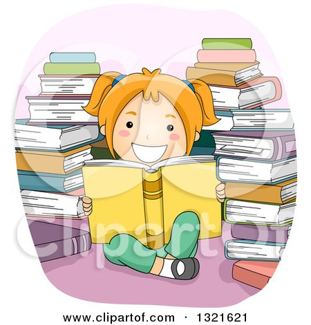 Clipart of a Happy Red Haired White Girl Reading in a Circle of Stacked Books - Royalty Free Vector Illustration by BNP Design Studio