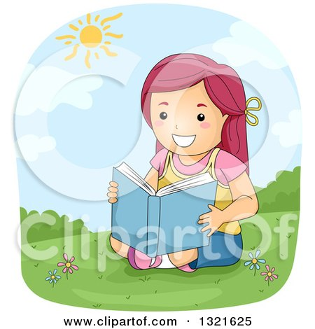 Clipart of a Happy Red Haired White Girl Reading on a Hill on a Sunny Day - Royalty Free Vector Illustration by BNP Design Studio
