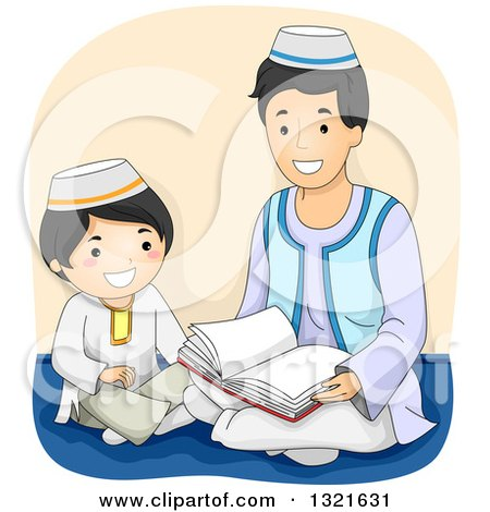 Clipart of a Happy Muslim Father Reading the Quran to His Son - Royalty Free Vector Illustration by BNP Design Studio