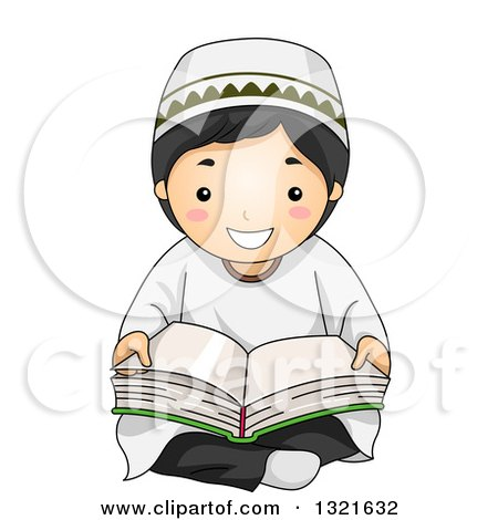Clipart of a Happy Muslim Boy Sitting on the Floor and Reading the Quran - Royalty Free Vector Illustration by BNP Design Studio