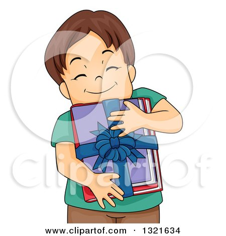 Clipart of a Happy Brunette White Boy Hugging a Bundle of Gifted Books - Royalty Free Vector Illustration by BNP Design Studio