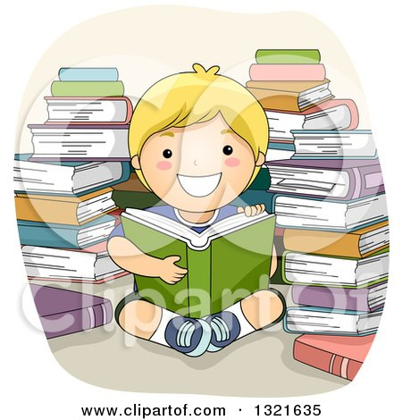 Clipart of a Happy Blond White Boy Reading in a Circle of Stacked Books - Royalty Free Vector Illustration by BNP Design Studio