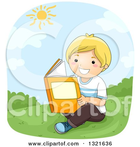 Clipart of a Happy Blond White Boy Reading on a Hill on a Sunny Day - Royalty Free Vector Illustration by BNP Design Studio