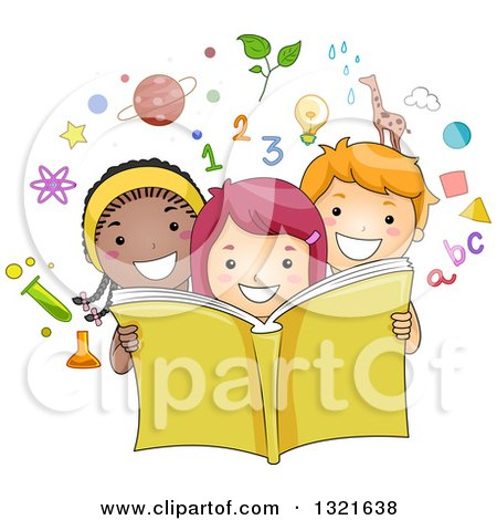 Clipart of a Happy School Boy and Girls Reading an Educational Book, with Science Math Alphabet and Nature Icons - Royalty Free Vector Illustration by BNP Design Studio