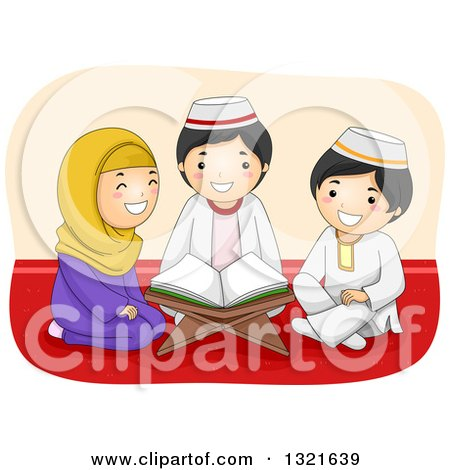 Clipart of a Happy Muslim Girl and Boys Reading the Quran Together - Royalty Free Vector Illustration by BNP Design Studio