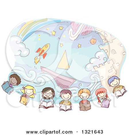 Clipart of a Row of Sketched Happy Children Reading Books Under Imaginative Scenes of a Castle, Boat, Rocket and Rainbow - Royalty Free Vector Illustration by BNP Design Studio