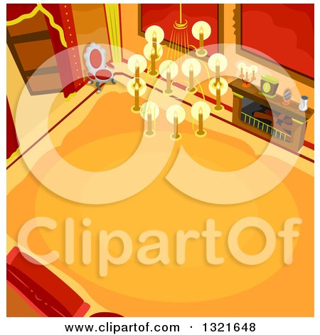 Clipart of a High View of a Castle Hallway Interior - Royalty Free Vector Illustration by BNP Design Studio