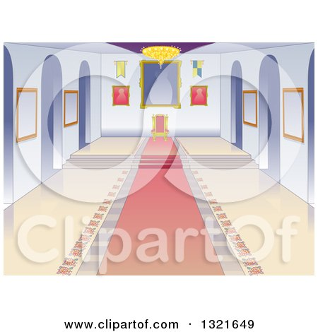 Clipart of a Castle Throne Room Interior with a Pink Carpet - Royalty Free Vector Illustration by BNP Design Studio