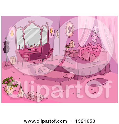 Clipart of a Sketched Pink Parisian Themed Bedroom - Royalty Free Vector Illustration by BNP Design Studio