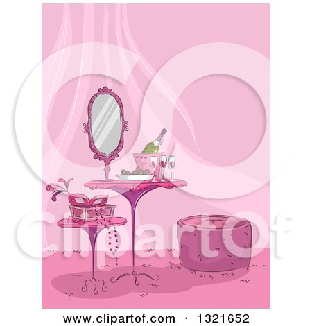 Clipart of a Pink Table and Stools in a Feminine Room, with a Mask and Champagne - Royalty Free Vector Illustration by BNP Design Studio