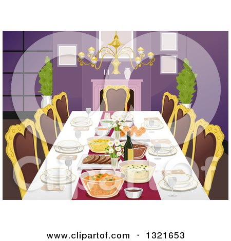 Formal Dining Room Table With Place Settings And Foods By BNP Design Studio