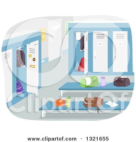 Clipart of a Boy's Locker Room with Items on Benches - Royalty Free Vector Illustration by BNP Design Studio