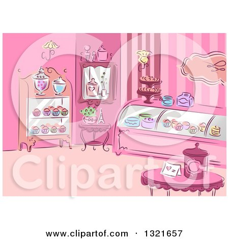 Sketched Pink Patisserie Interior with Cupcakes Posters, Art Prints