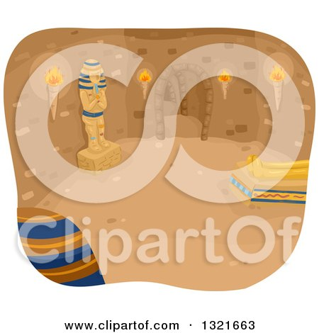 Clipart of an Egyptian Pyramid Interior - Royalty Free Vector Illustration by BNP Design Studio